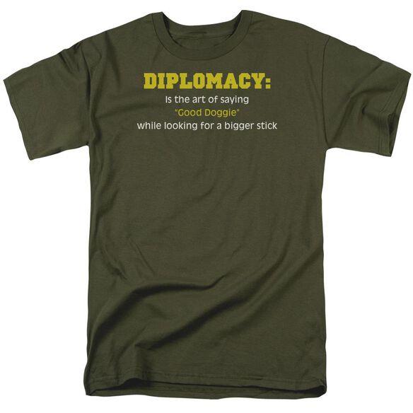 Diplomacy Short Sleeve Adult Military Green T-Shirt