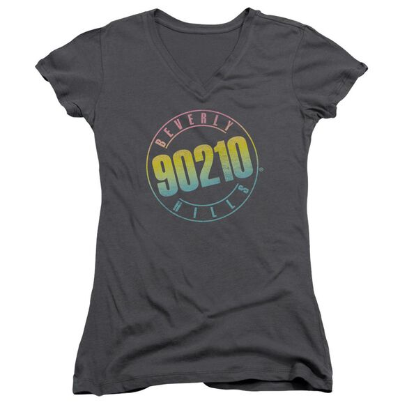 90210 Color Blend Logo Junior V Neck T-Shirt