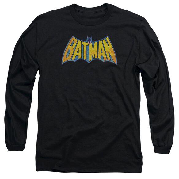 Dco Batman Neon Distress Logo Long Sleeve Adult T-Shirt