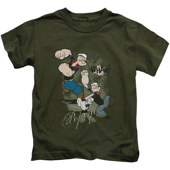 Popeye Three Part Punch Short Sleeve Juvenile Military T-Shirt
