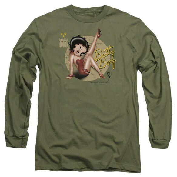 Betty Boop Nose Art Long Sleeve Adult Military T-Shirt