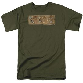Wildlife Mood Swing Short Sleeve Adult Military Green T-Shirt