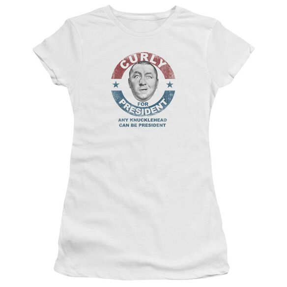 Three Stooges Curly For President Short Sleeve Junior Sheer T-Shirt