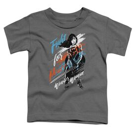 Wonder Woman Movie Fight For Peace Short Sleeve Toddler Tee Charcoal T-Shirt