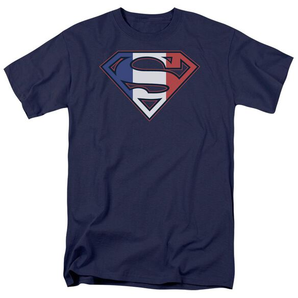 SUPERMAN FRENCH SHIELD - S/S ADULT 18/1 - BLACK T-Shirt