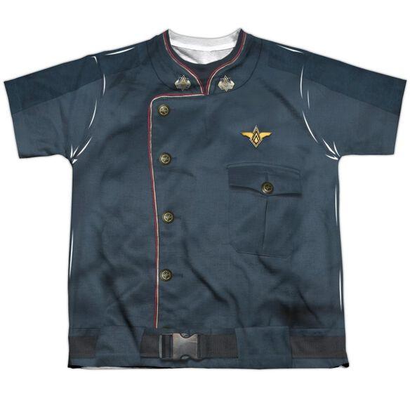 Battlestar Galactica Duty Blue Short Sleeve Youth Poly Crew T-Shirt
