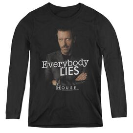 HOUSE EVERYBODY LIES - WOMENS LONG SLEEVE TEE - BLACK