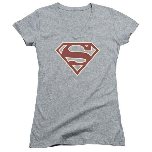 Superman Crimson & Cream Shield - Junior V-neck - Athletic Heather