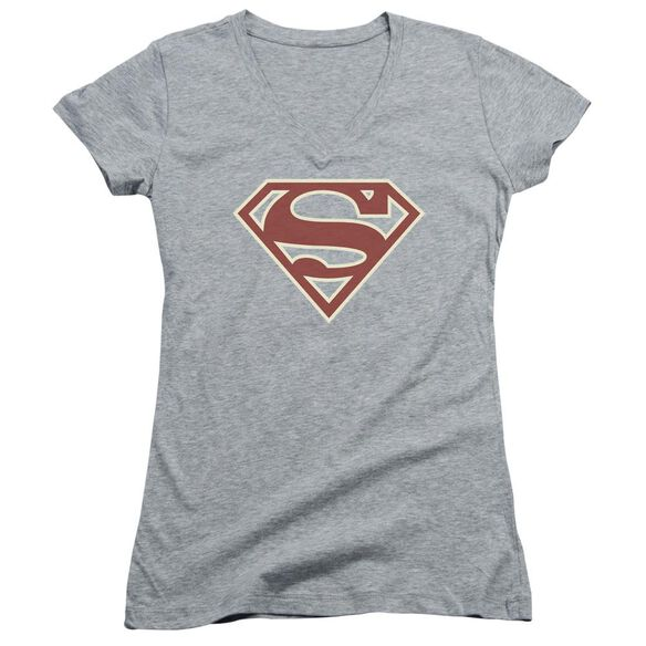 Superman Crimson & Cream Shield Junior V Neck Athletic T-Shirt