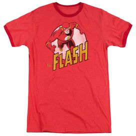 DC FLASH THE FLASH - ADULT HEATHER RINGER - RED