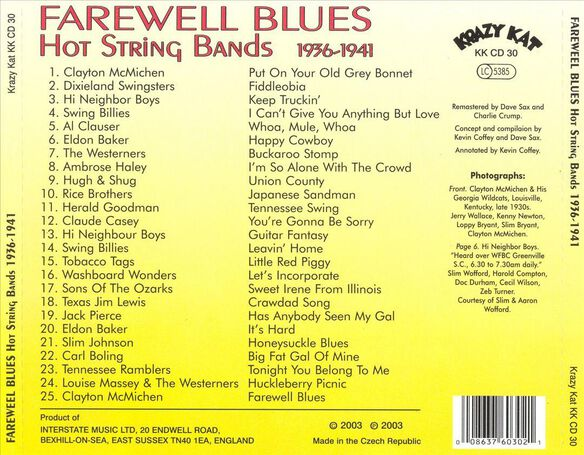 Farewell Blues: Hot String Bands 1936 41 / Various