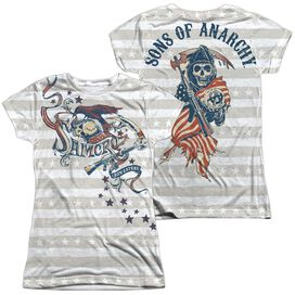 Sons Of Anarchy Crow And Stars (Front Back Print) Short Sleeve Junior Poly Crew T-Shirt