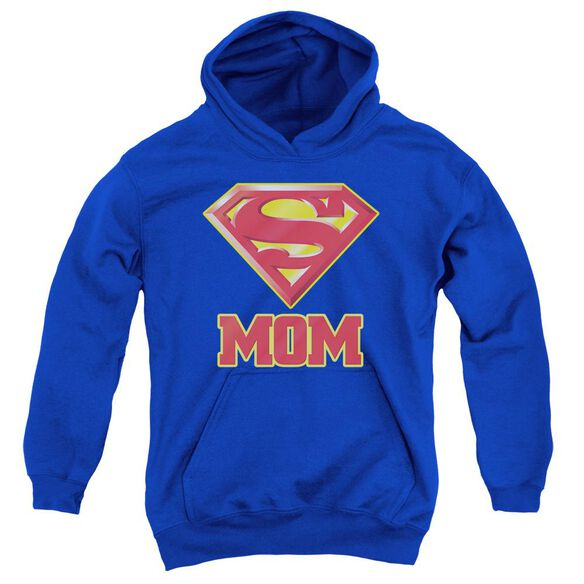 Superman Super Mom Youth Pull Over Hoodie Royal