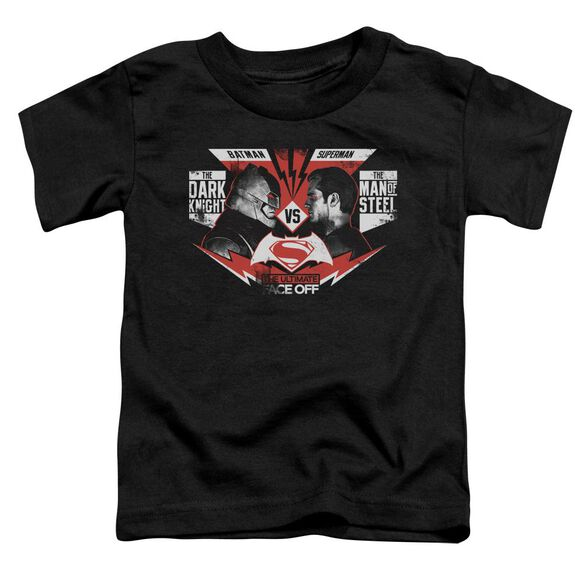 Batman V Superman Ultimate Face Off Short Sleeve Toddler Tee Black T-Shirt