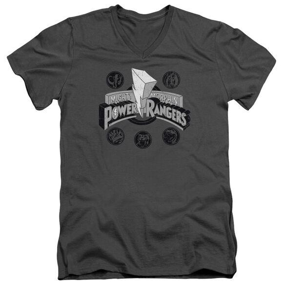 Power Rangers Power Coins Short Sleeve Adult V Neck T-Shirt