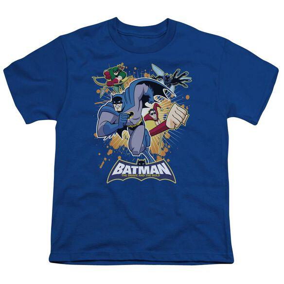 Batman Bb Burst Into Action Short Sleeve Youth Royal T-Shirt