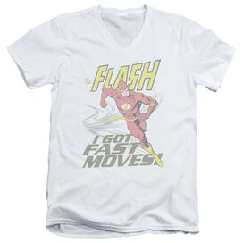 DC FLASH FAST MOVES - S/S ADULT V-NECK - WHITE T-Shirt