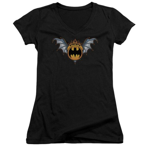 Batman Bat Wings Logo Junior V Neck T-Shirt