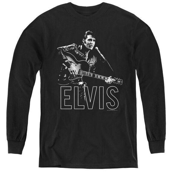 Elvis Presley Guitar In Hand - Youth Long Sleeve Tee - Black