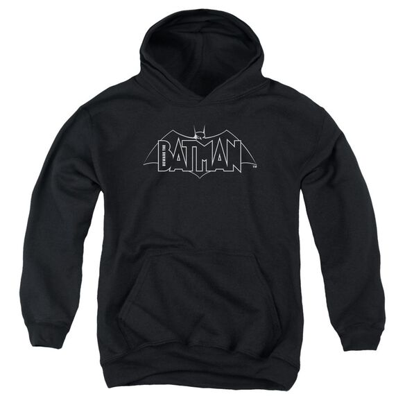 Beware The Batman B&W Logo Youth Pull Over Hoodie