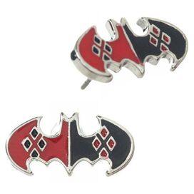Harley Quinn Bats Necklace Earrings Jewelry Set