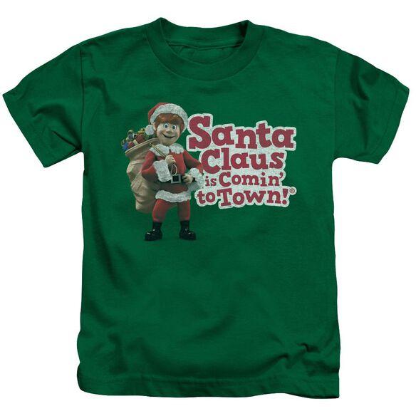 Santa Claus Is Comin To Town Santa Logo Short Sleeve Juvenile Kelly T-Shirt