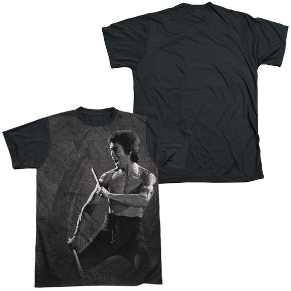 Bruce Lee Dragon Print Short Sleeve Adult Front Black Back T-Shirt