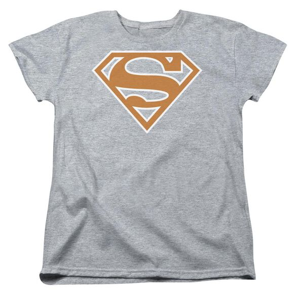 Superman Burnt Orange&White Shield Short Sleeve Womens Tee Athletic T-Shirt