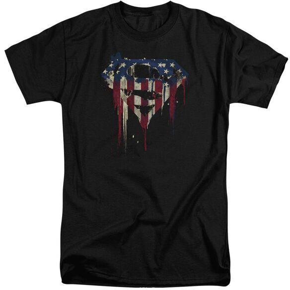 Superman Bleeding Shield Short Sleeve Adult Tall T-Shirt