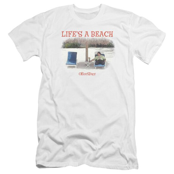 Office Space Lifes A Beach Premuim Canvas Adult Slim Fit