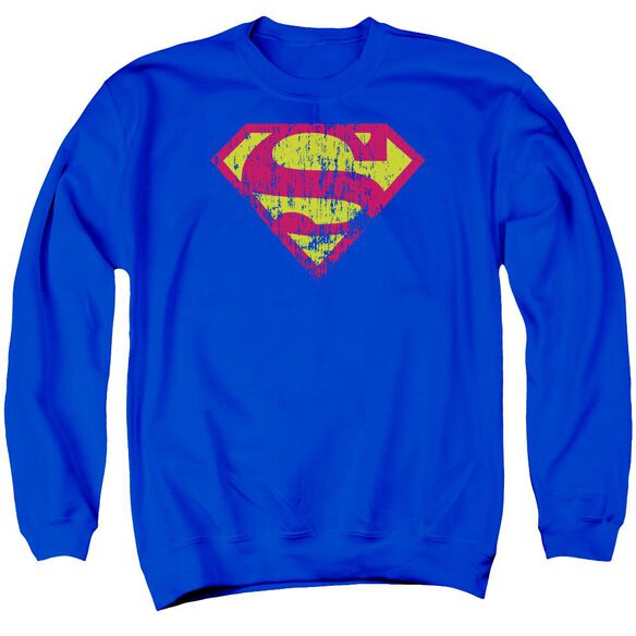 Superman Classic Logo Distressed Adult Crewneck Sweatshirt Royal