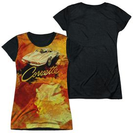 Chevrolet Painted Sting Ray Short Sleeve Junior Poly Black Back T-Shirt
