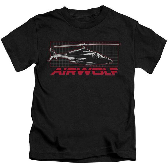 Airwolf Grid Short Sleeve Juvenile Black Black T-Shirt