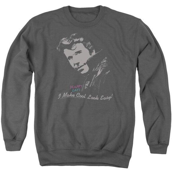 Happy Days Cool Fonz - Adult Crewneck Sweatshirt - Charcoal