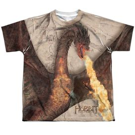 Hobbit Smaug Attack Short Sleeve Youth Poly Crew T-Shirt