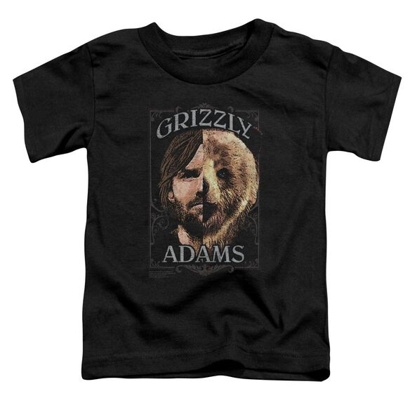 Grizzly Adams Half Bear Short Sleeve Toddler Tee Black T-Shirt