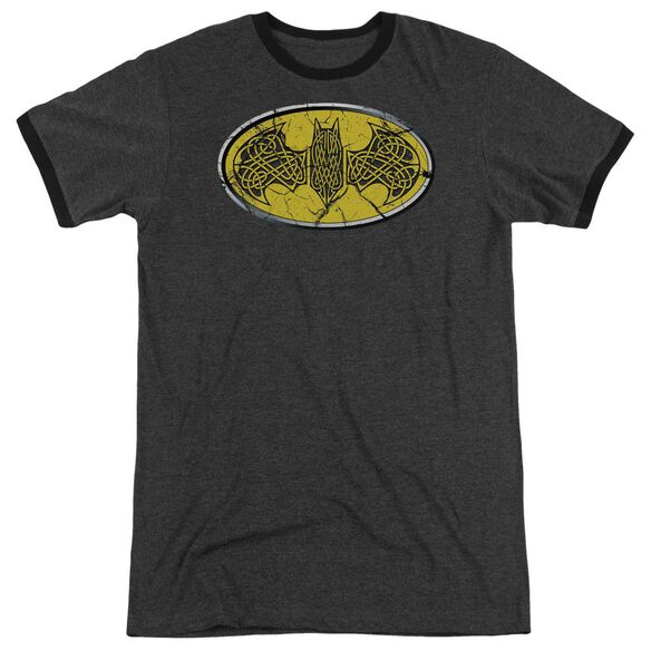 Batman Celtic Shield Adult Heather Ringer Charcoal