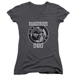 Rocky & Bullwinkle Dangerous Junior V Neck T-Shirt