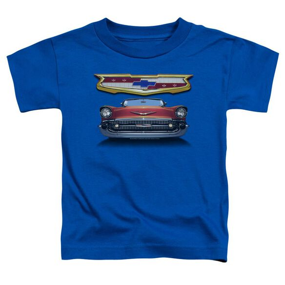 Chevrolet 1957 Bel Air Grille Short Sleeve Toddler Tee Royal Blue T-Shirt