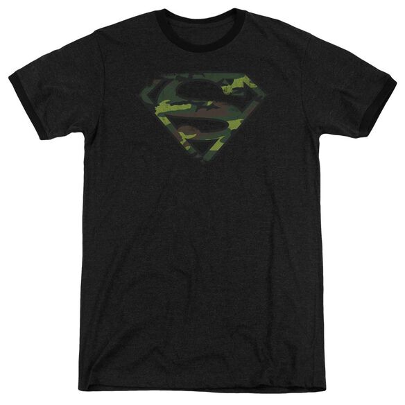 Superman Distressed Camo Shield Adult Heather Ringer Black