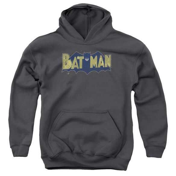 Batman Vintage Logo Splatter Youth Pull Over Hoodie