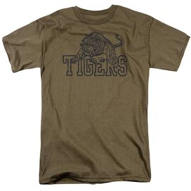 Tigers Short Sleeve Adult Safari Green T-Shirt