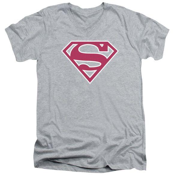 Superman Red & White Shield Short Sleeve Adult V Neck Athletic T-Shirt