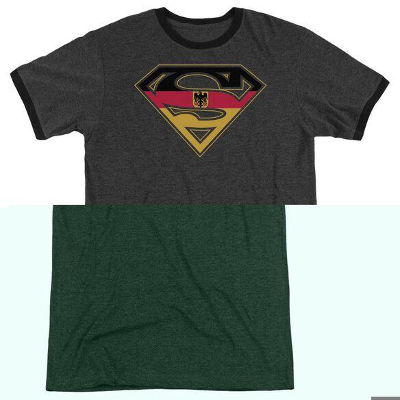 Superman German Shield - Adult Heather Ringer - Charcoal