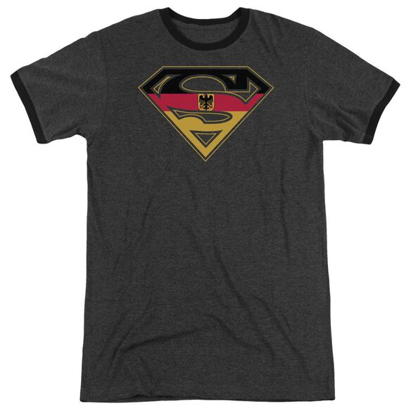 Superman German Shield Adult Heather Ringer Charcoal