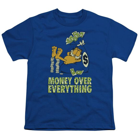 Garfield Money Is Everything Short Sleeve Youth Royal T-Shirt