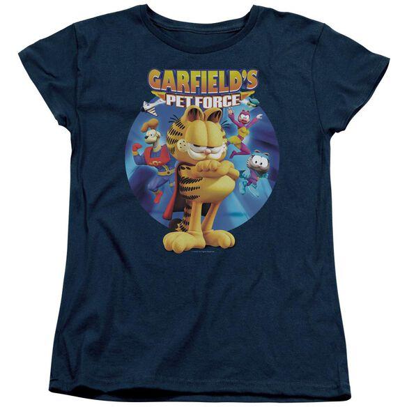 GARFIELD DVD ART - S/S WOMENS TEE - NAVY T-Shirt