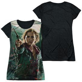 Harry Potter Hermione Final Battle Short Sleeve Junior Poly Black Back T-Shirt