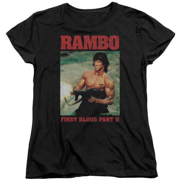 Rambo:First Blood Ii Dropping Shells Short Sleeve Women's Tee Black T-Shirt