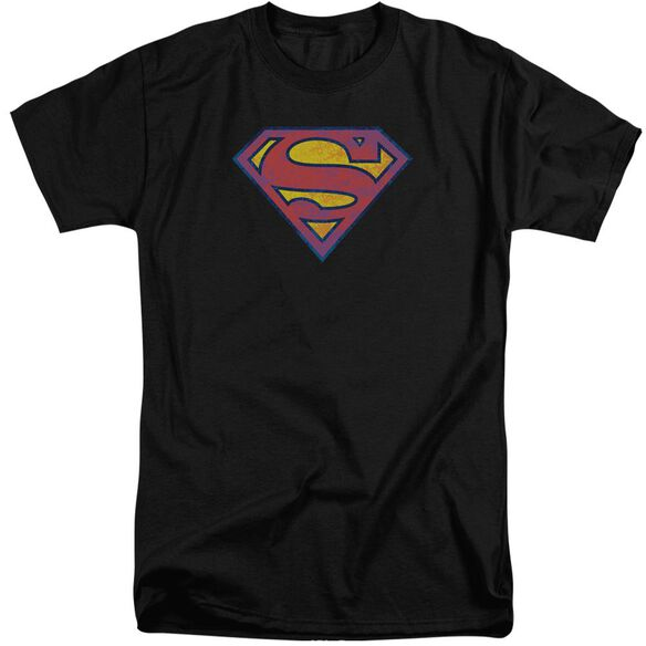 Superman Sm Neon Distress Logo Short Sleeve Adult Tall T-Shirt